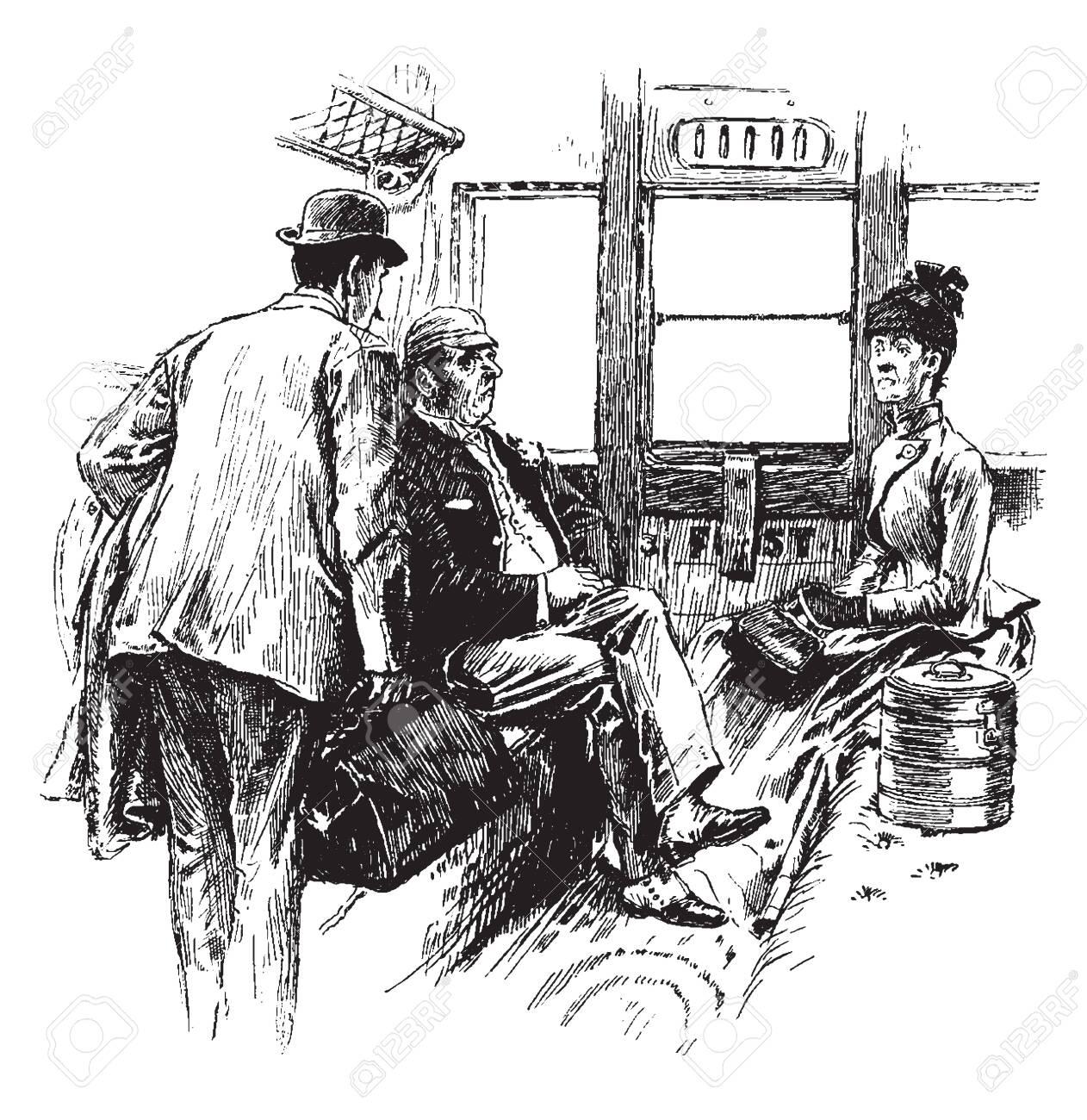 Traveling Selfishly would seem to have a distinctly selfish tendency, vintage line drawing or engraving illustration. - 133045180