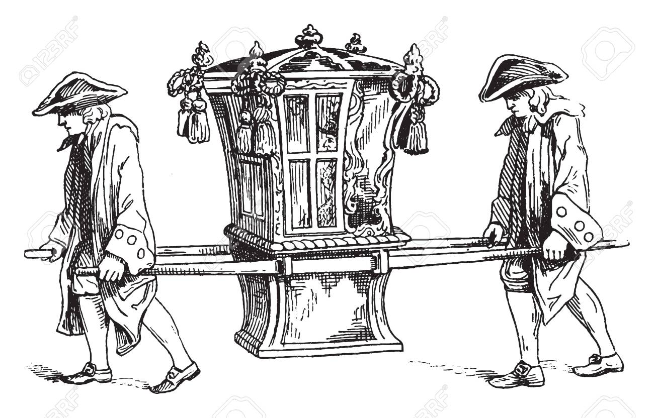 Sedan Chair In 1755 Which Consists Of A Chair Or Windowed Cabin Royalty Free Cliparts Vectors And Stock Illustration Image 133428905