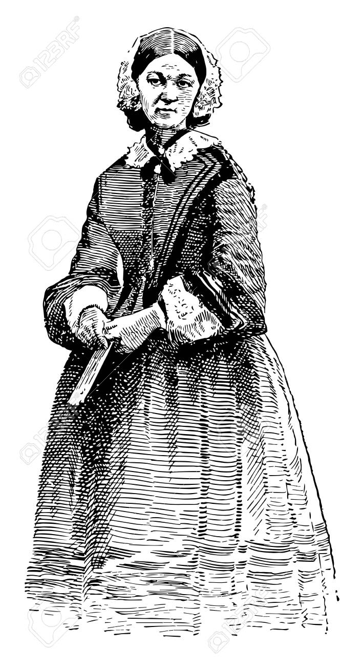 Florence Nightingale, 1820-1910, she was an English social reformer and statistician, and the founder of modern nursing, vintage line drawing or engraving illustration - 133362440