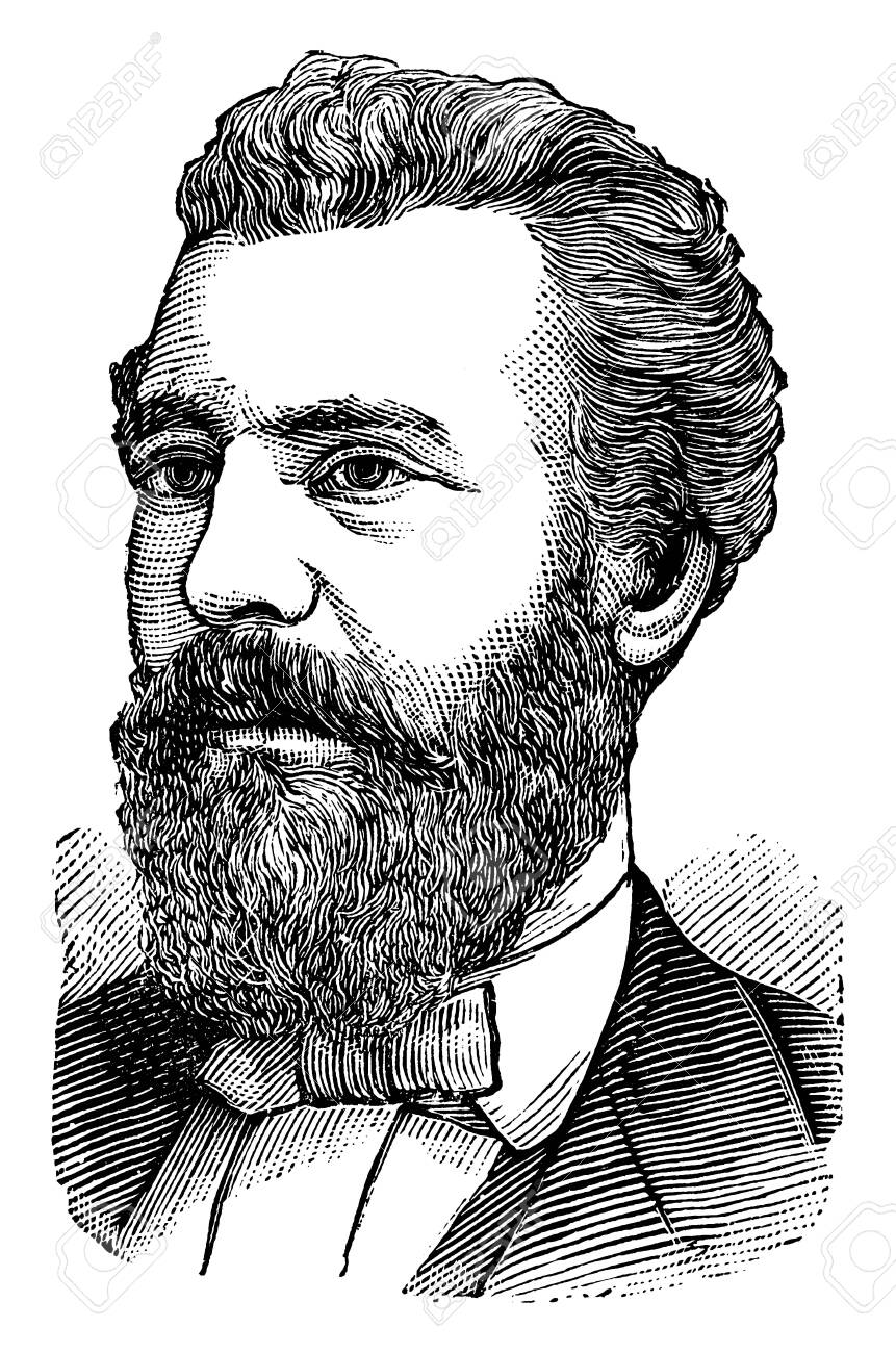 Alexander Graham Bell, 1847-1942, he was scientist, engineer and inventor of the Telephone, and founder of Bell Canada, vintage line drawing or engraving illustration - 133022692