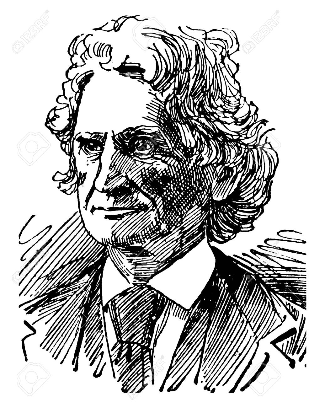 James D. Dana, 1813-1895, he was an American geologist, mineralogist, volcanologist, and zoologist, vintage line drawing or engraving illustration - 133022868