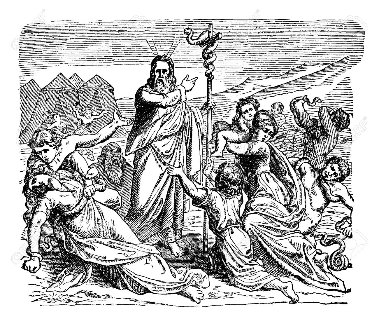 Moses held a snake made up of brass on a pillar. People fell on a ground and alive snakes moving on them, vintage line drawing or engraving illustration. - 133404856