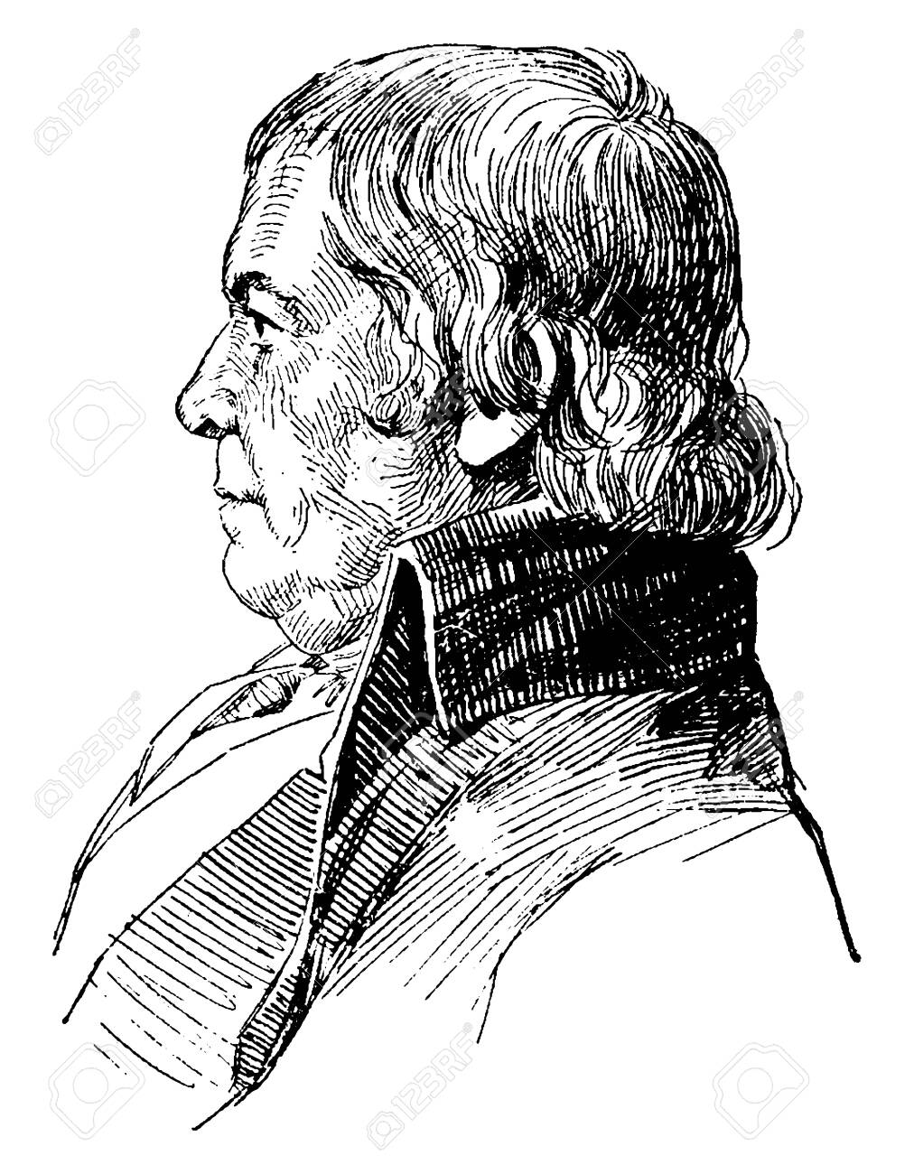 Paul Revere, 1734-1818, he was an American silversmith, engraver, industrialist, and patriot in the American revolution, vintage line drawing or engraving illustration - 133486060