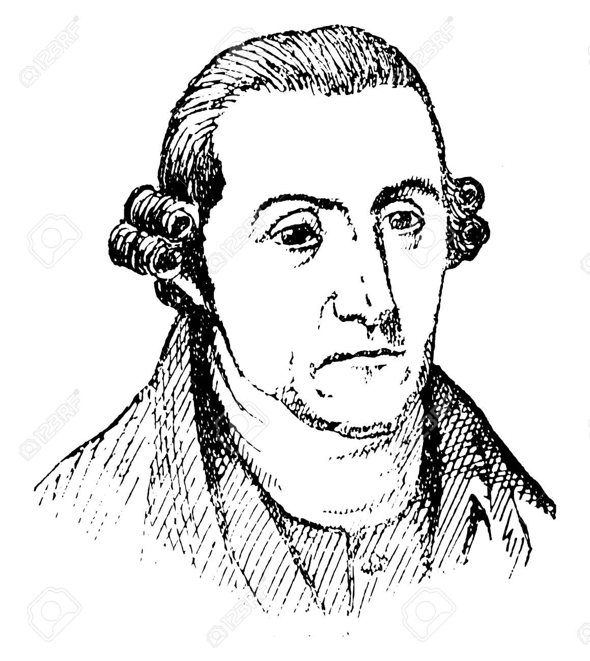 Patrick Henry, 1736-1799, he was an American attorney, planter, orator, and the first and sixth post-colonial governor of Virginia, famous for his declaration to the Second Virginia Convention, vintage line drawing or engraving illustration - 133630100