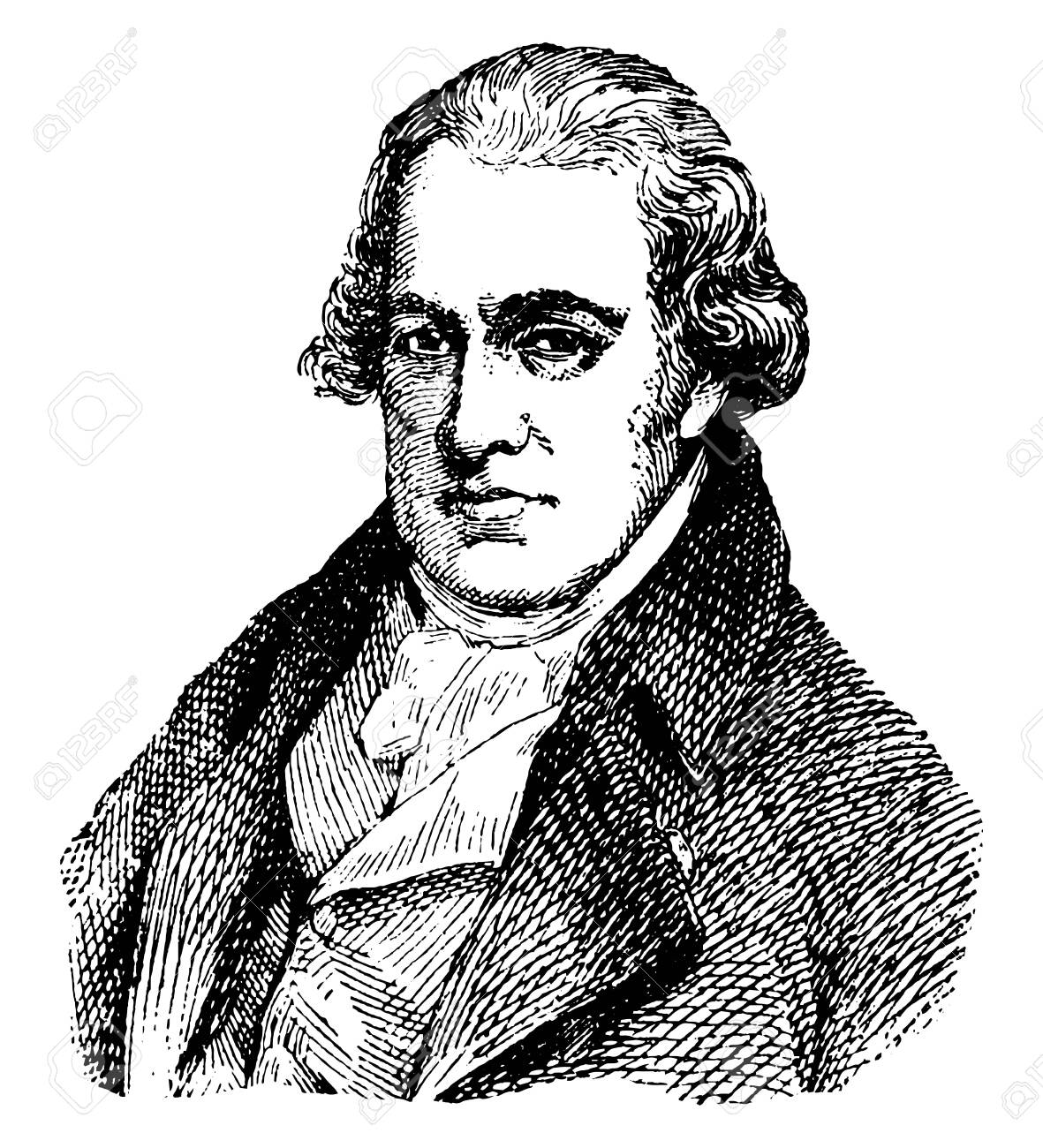 James Watt, 1736-1819, he was a Scottish inventor, mechanical engineer, and chemist, vintage line drawing or engraving illustration - 133425799