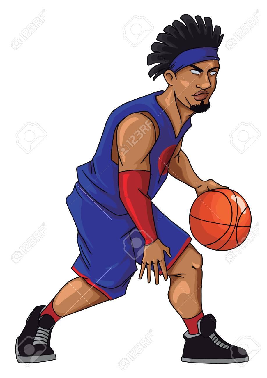 Basketball player dribbling, illustration, vector on white background. - 152547389