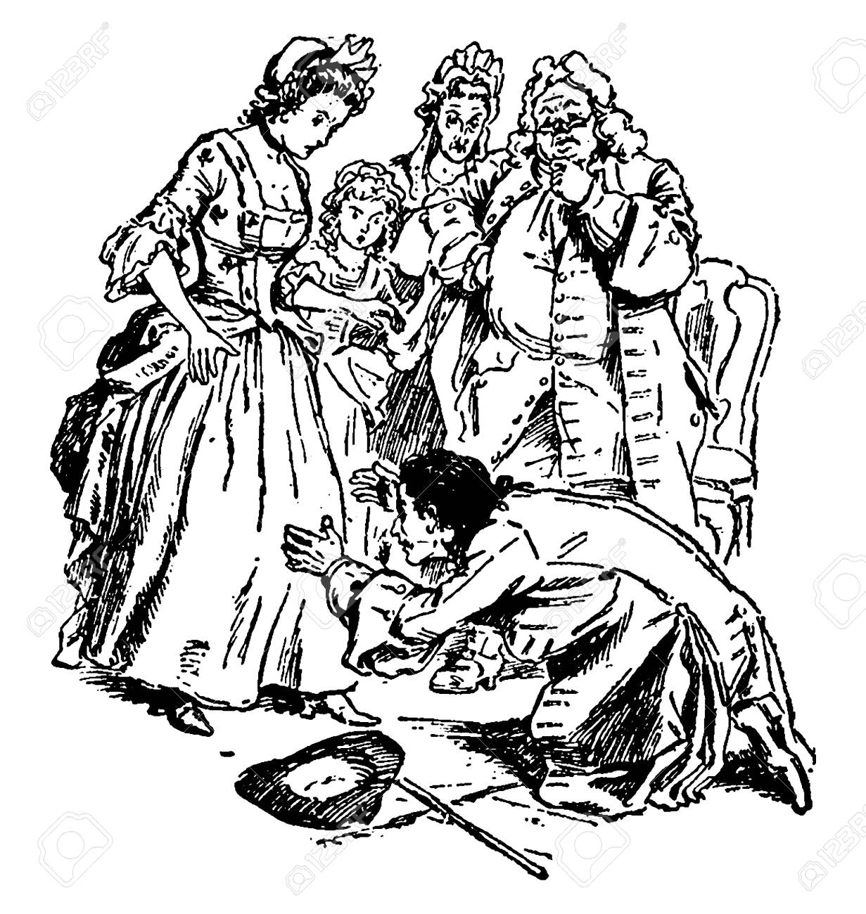 Gulliver Stoops to Wife, this scene shows a family, and a man stoops down at his wife's knees and other family members standing and looking at him, vintage line drawing or engraving illustration - 152633801