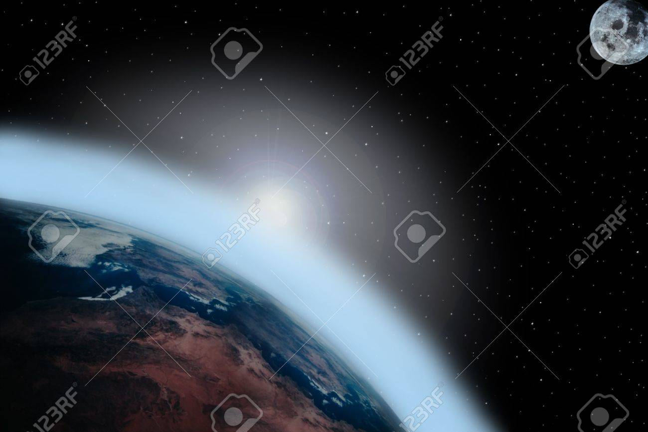 a simple background of the earth moon and stars at night in the sky of our own universe with a sunrise Stock Photo - 3114247