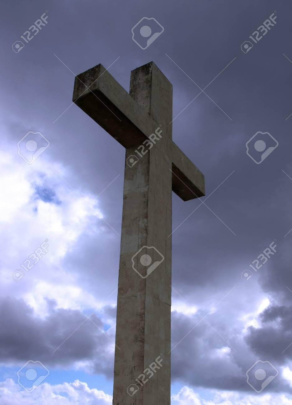 concrete Cross on top of bear island in county Cork Ireland Stock Photo - 3547867