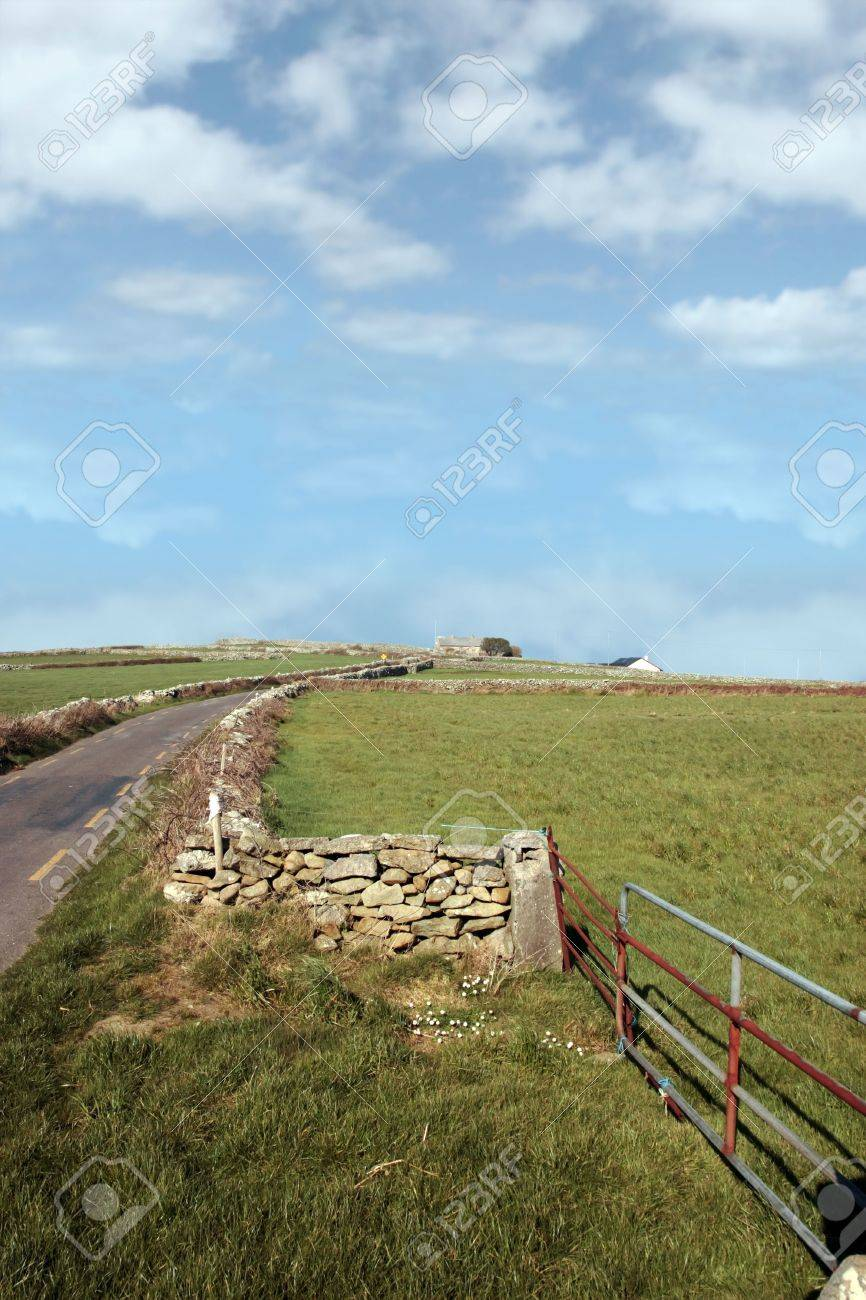 quiet road with a derelict house in the irish countryside in county kerry ireland Stock Photo - 4933364