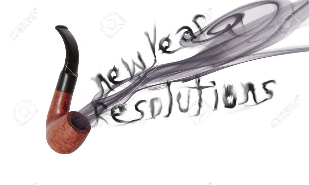 smoke from a smokers pipe saying new year resolutions on white stock photo 8530311