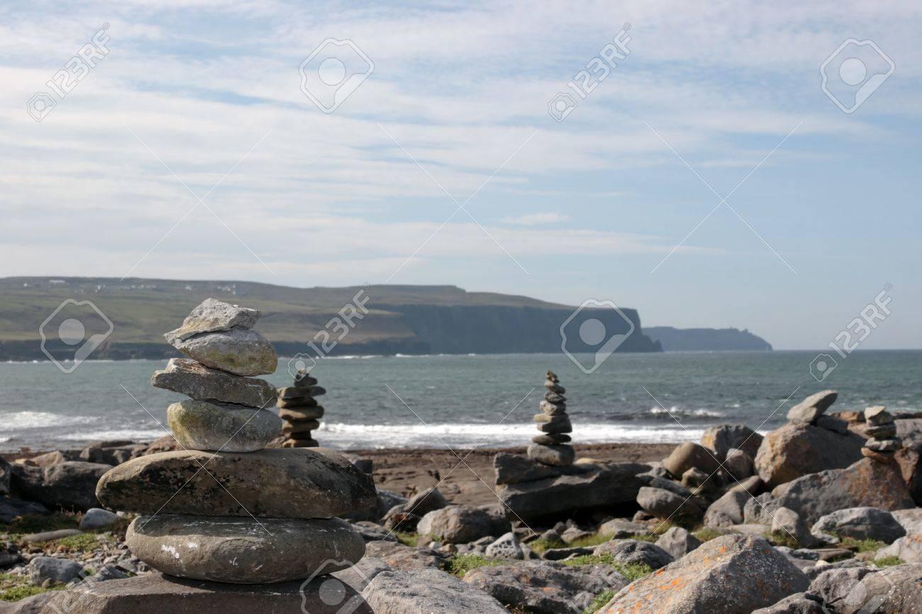 rock piles on the beach in doolin county clare ireland Stock Photo - 9106146