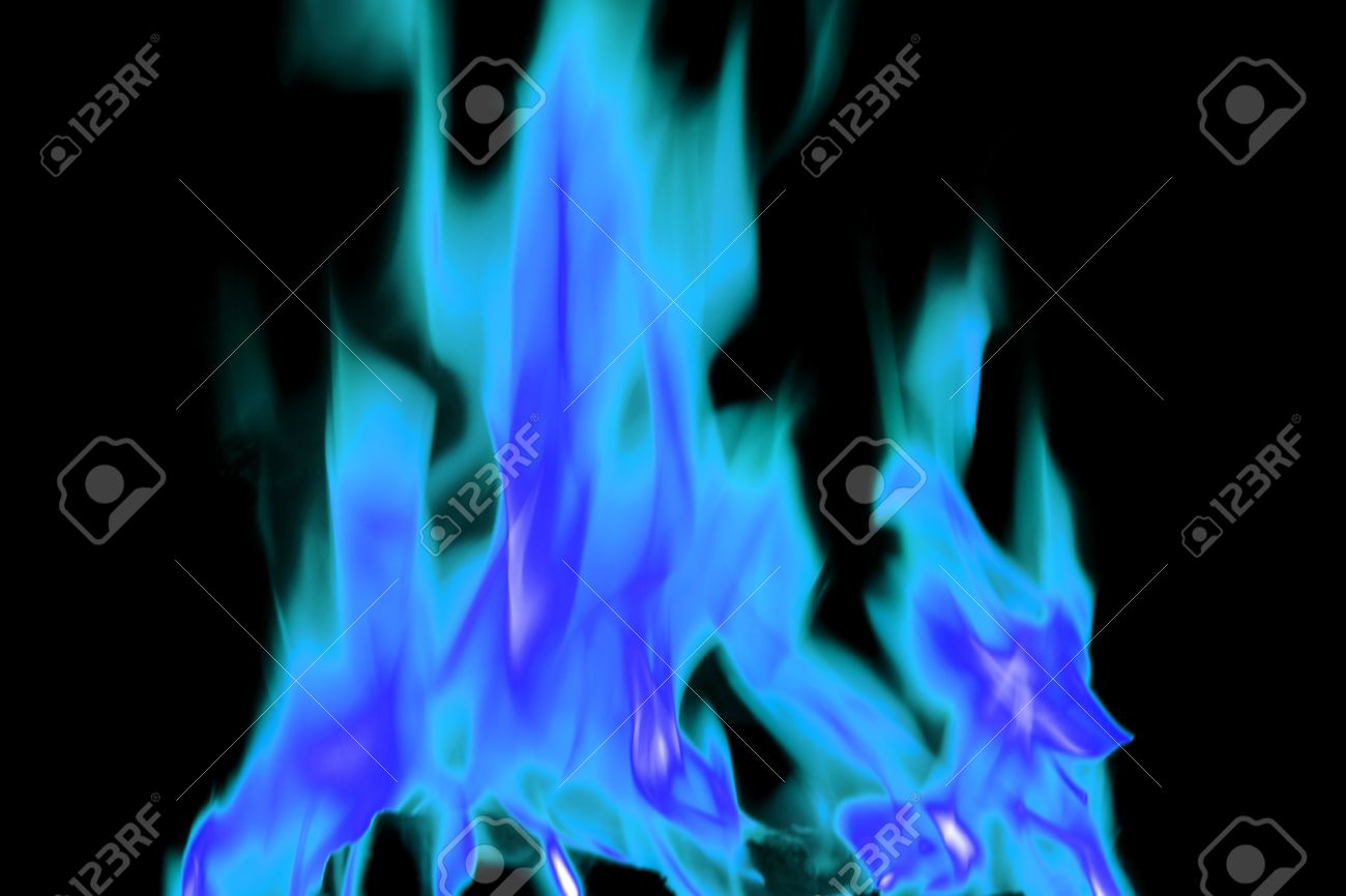 bright blue flames on an open fire that give that warm feeling stock