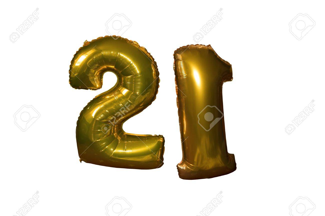 Gold Helium Filled 21st Birthday Balloons Floating In The Sky With Clipping Path Stock Photo