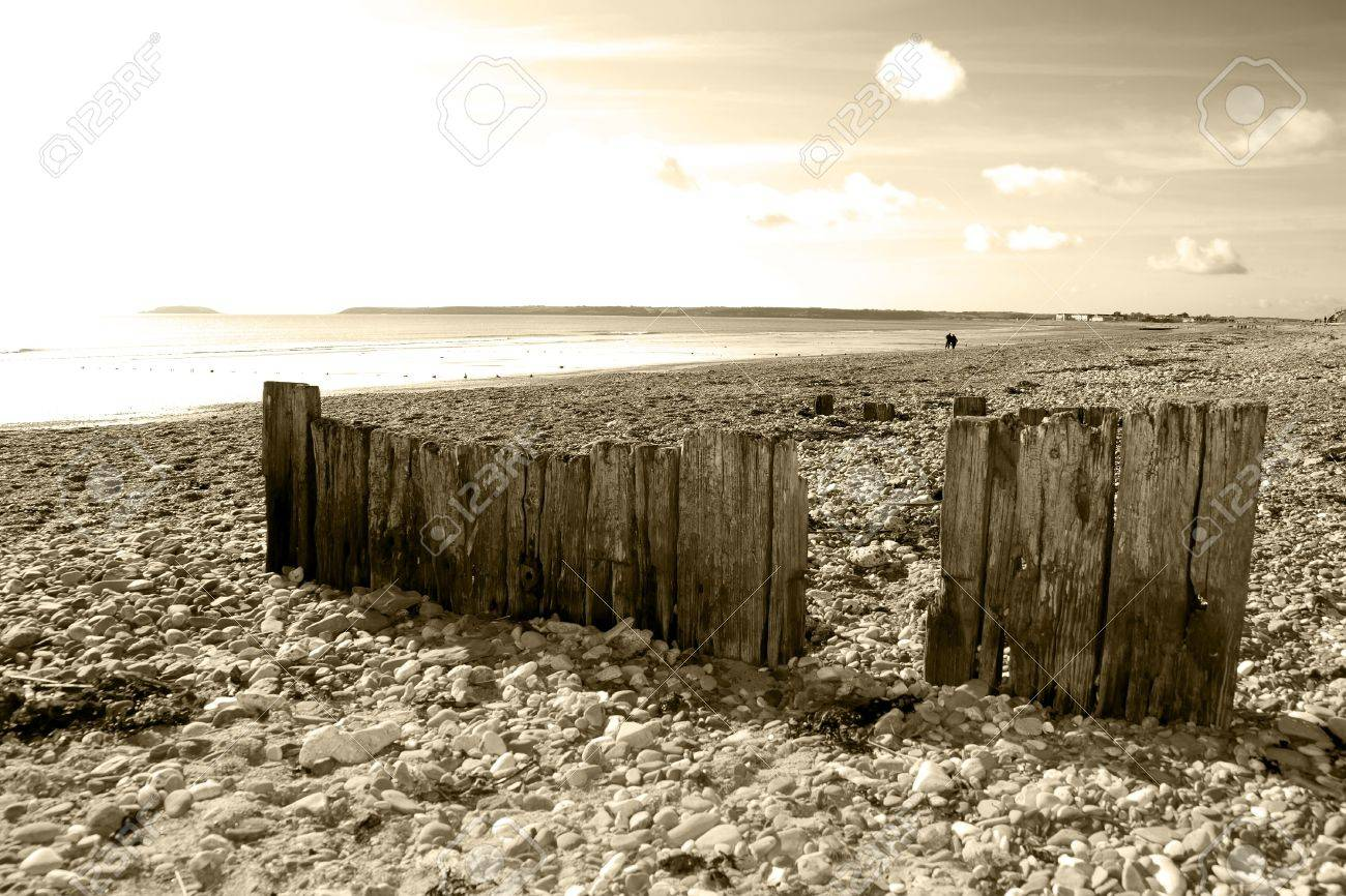 sepia beach breakers in Youghal county Cork Ireland on a summers day Stock Photo - 16551695