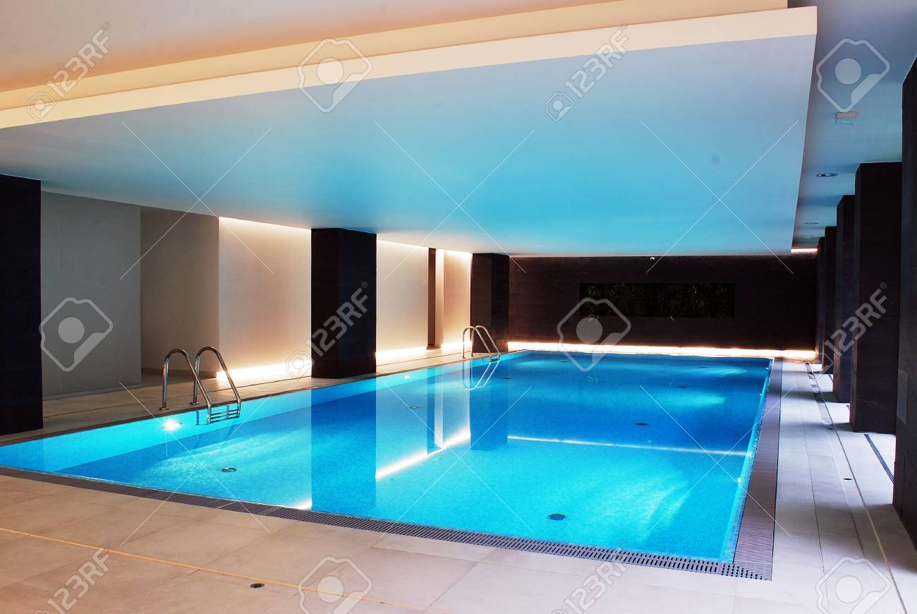 Beautiful Swimming Pool Inside European Style Building Stock Photo ...