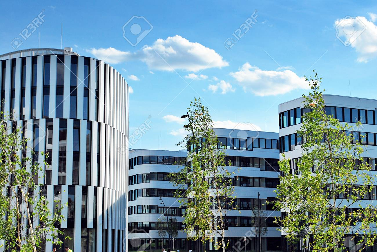 Modern Building. Modern Office Building With Facade Of Glass Stock ...