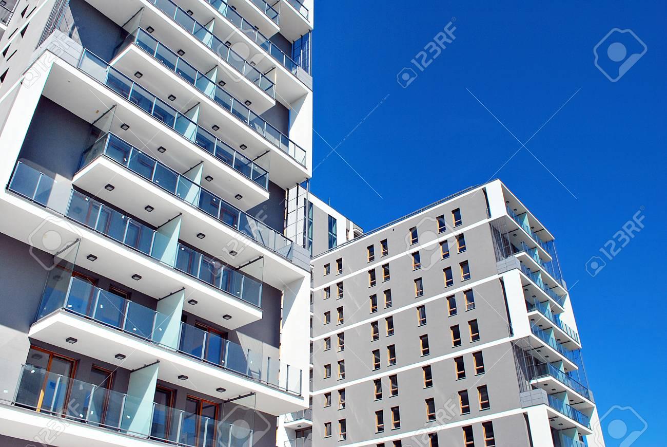 Modern apartment building exterior stock photo 83606254