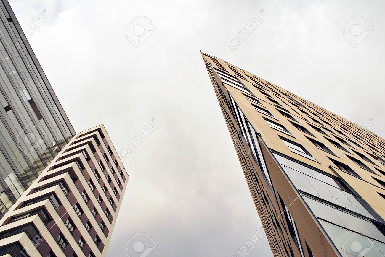 Modern, Luxury Apartment Building against blue sky - 90004966