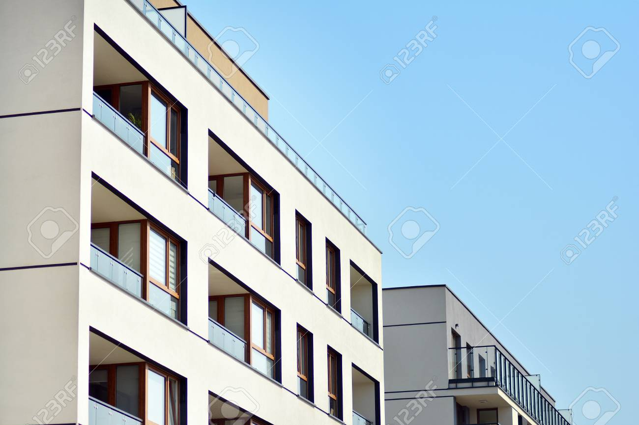 Modern European residential apartment buildings quarter. Abstract architecture, fragment of modern urban geometry. - 121457405