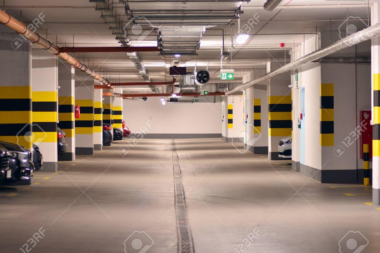 Underground parking garage of a modern apartment building