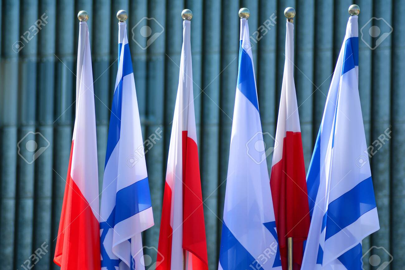 Poland and Israel flag waving in the wind. Israel and Poland two flags textile cloth. - 122738494