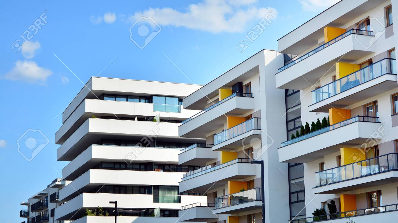 Contemporary Residential Building Exterior In The Daylight Modern Stock Photo Picture And Royalty Free Image Image 129568912