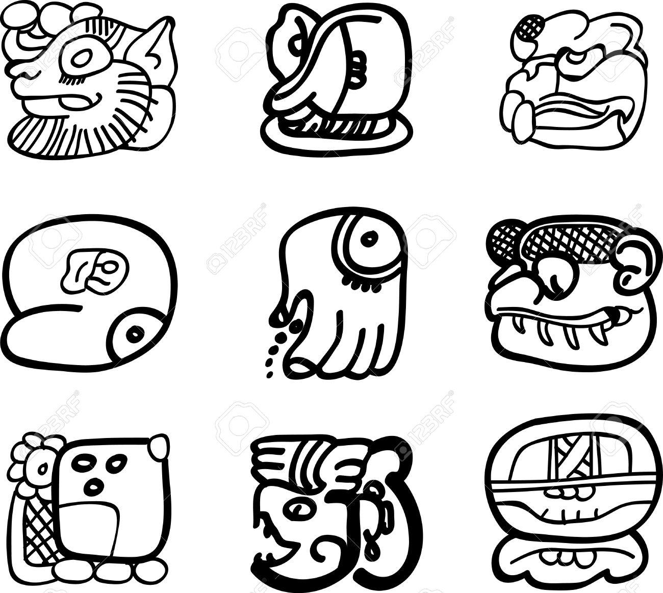 Mexican, aztec or maya motifs, glyphs Stock Vector - 9873640