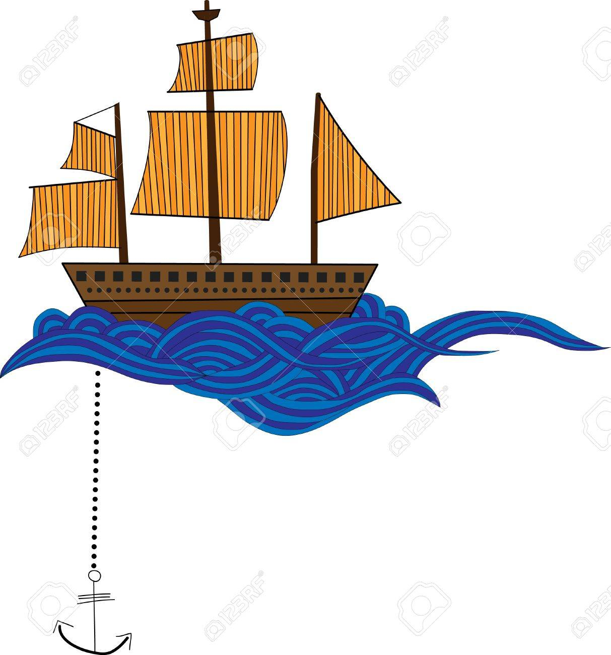 Ship with waves Stock Vector - 9873649