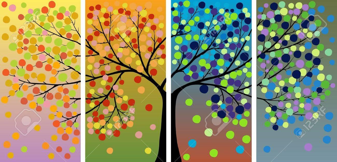 Four season tree decoration Stock Vector - 10283866