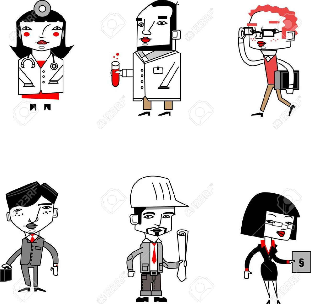 Jobs with cartoon style figures Stock Vector - 10424860