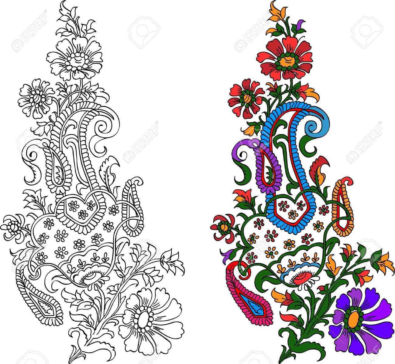 Indian Textile Motif With Colored Live Painting Royalty Free ...