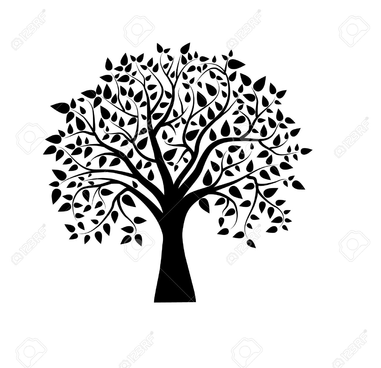 Vector Tree In Black And White Royalty Free Cliparts Vectors And