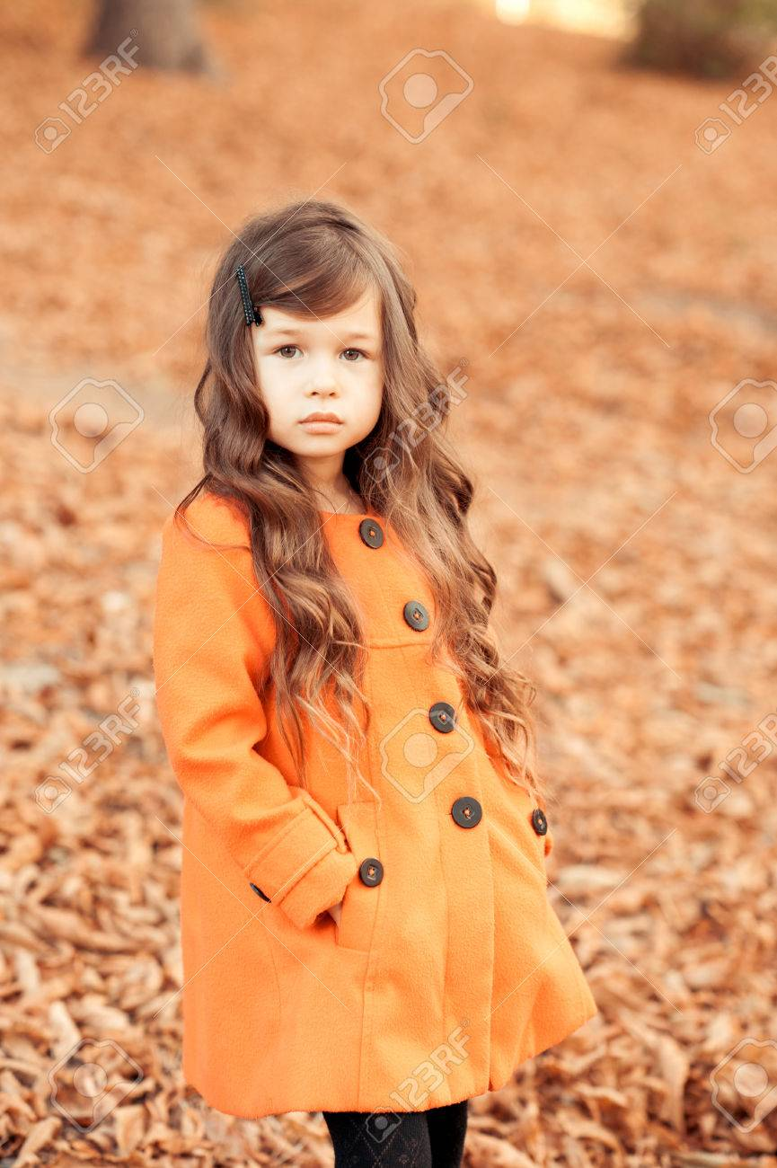 fac9a692971b Stylish Baby Girl 4-5 Year Old Walking In Park. Wearing Trendy ...