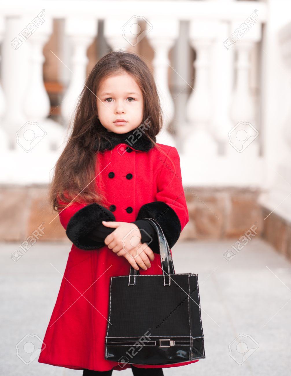79dcdbe7f Cute Child Girl 4-5 Year Old Posing Outdoors. Wearing Winter.. Stock ...