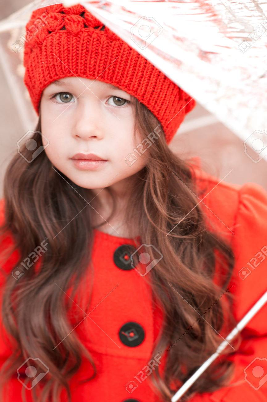 4f21137e0 Cute Baby Girl 3-4 Year Old Wearing Stylish Winter Jacket And ...
