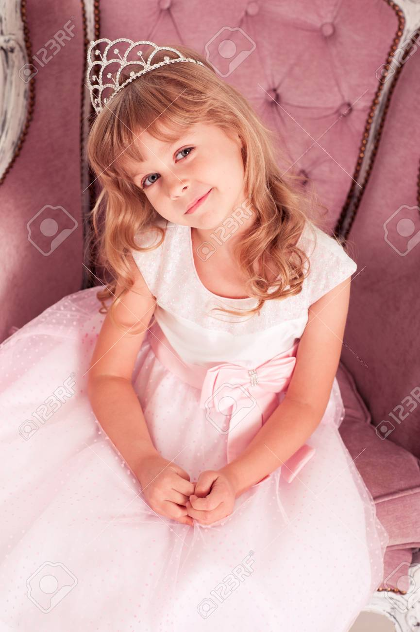 Closeup Portrait Of Smiling Kid Girl 4 5 Year Old Wearing Princess Dress And Crown