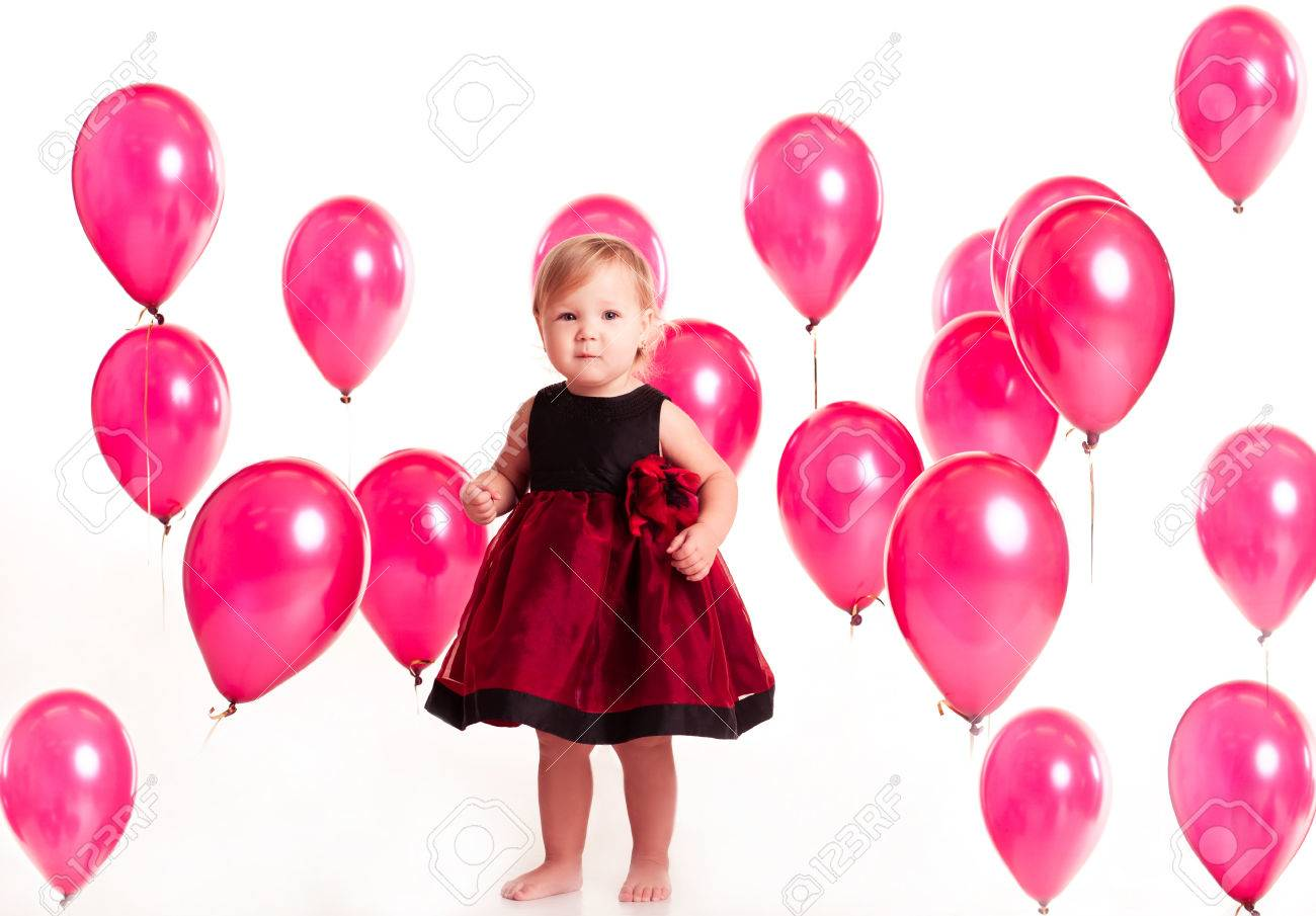 Cute Baby Girl 1 2 Year Old Wearing Stylish Dress In Room With