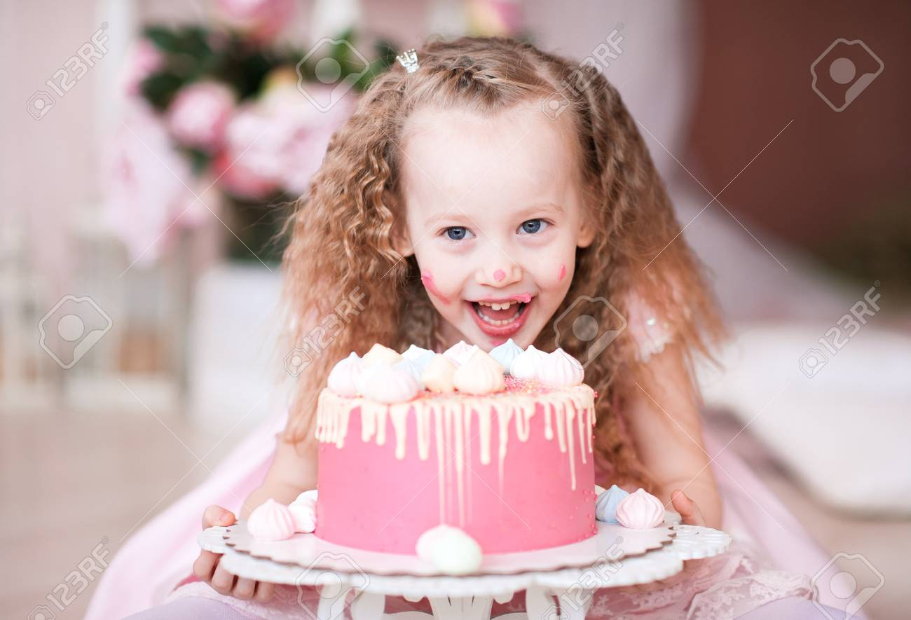 Laughing Kid Girl 5 6 Year Old Eating Birthday Cake Looking Stock