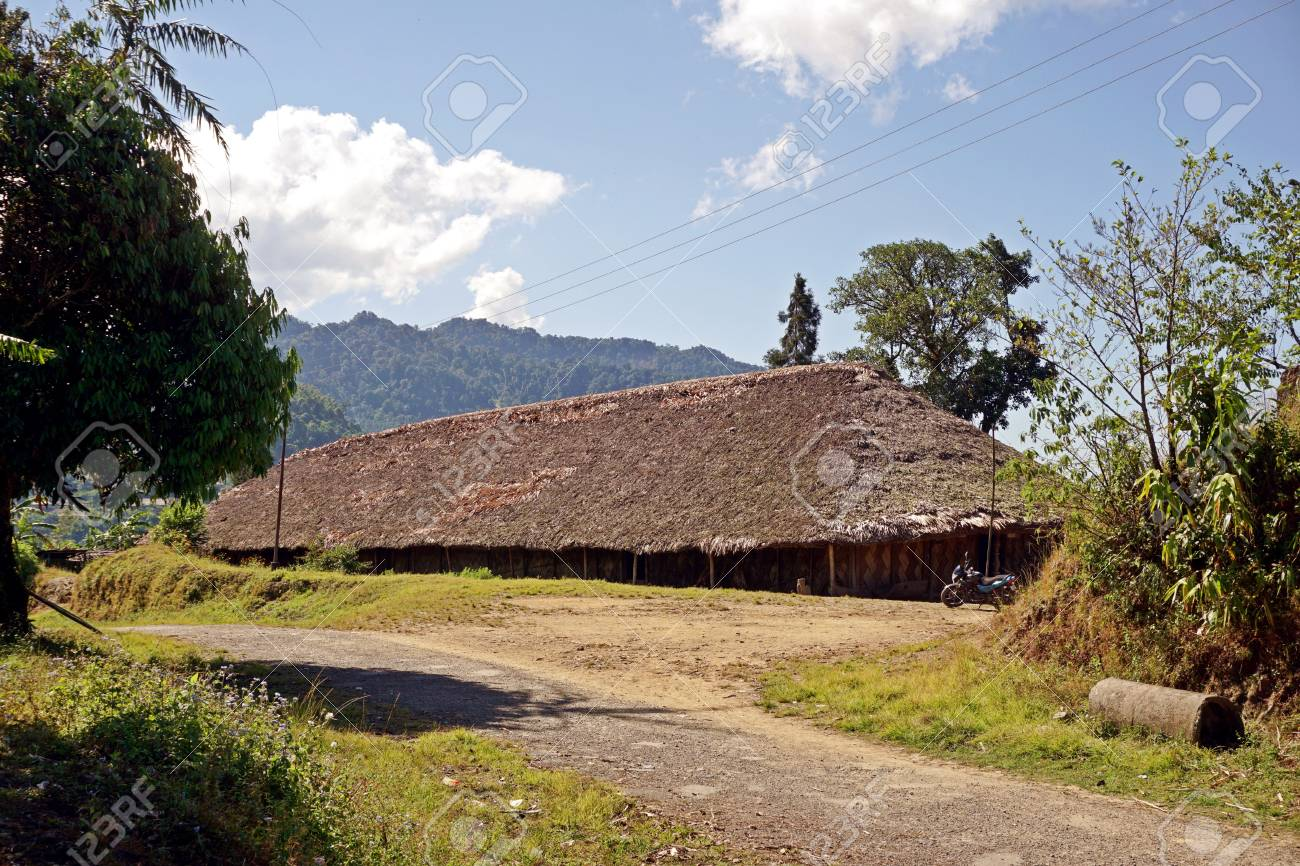 Wodden long house in Longwa tribal village, Mon, Nagaland, India,