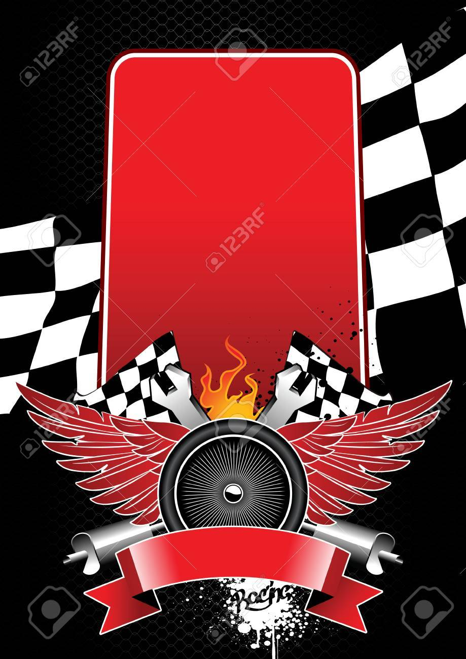 Image with racing attributes and banner for your text Stock Vector - 6131415