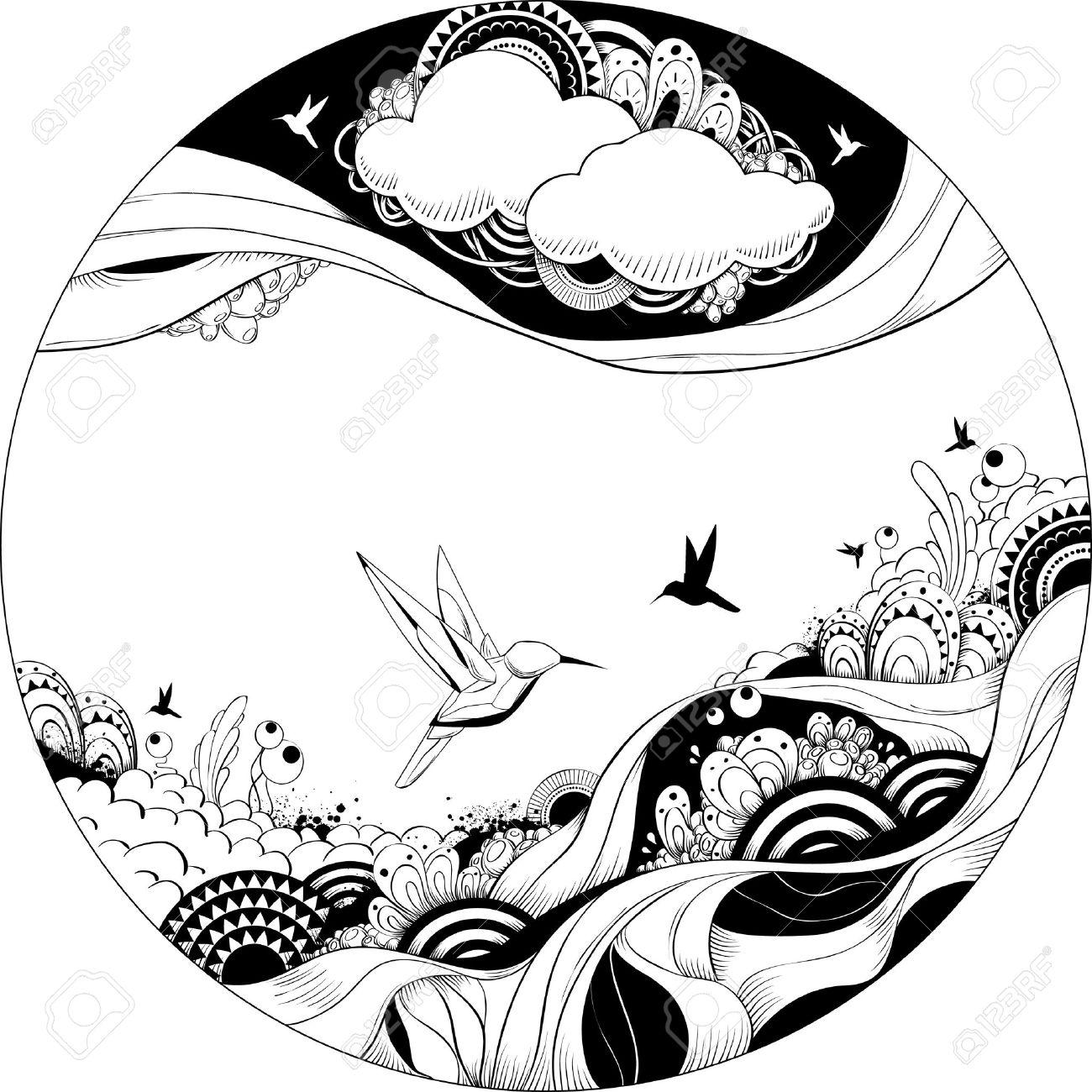 Bizarre vector illustration. Black and white ink sketch. Stock Vector - 6189069