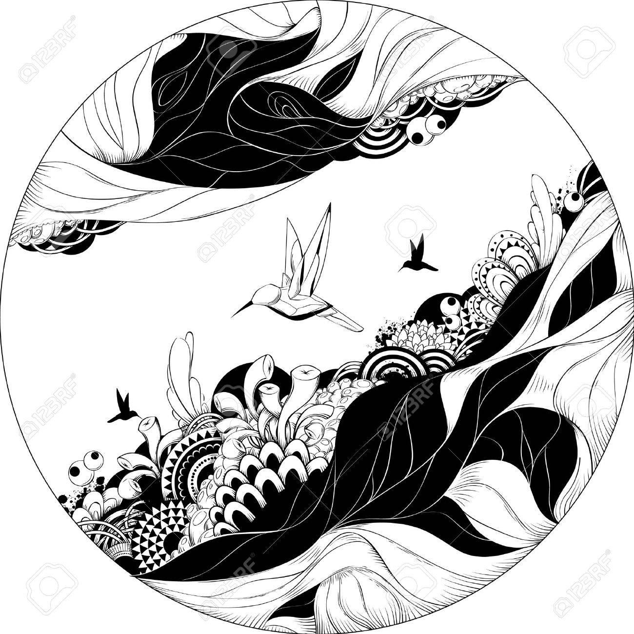 Bizarre vector illustration. Black and white ink sketch. Stock Vector - 6189060