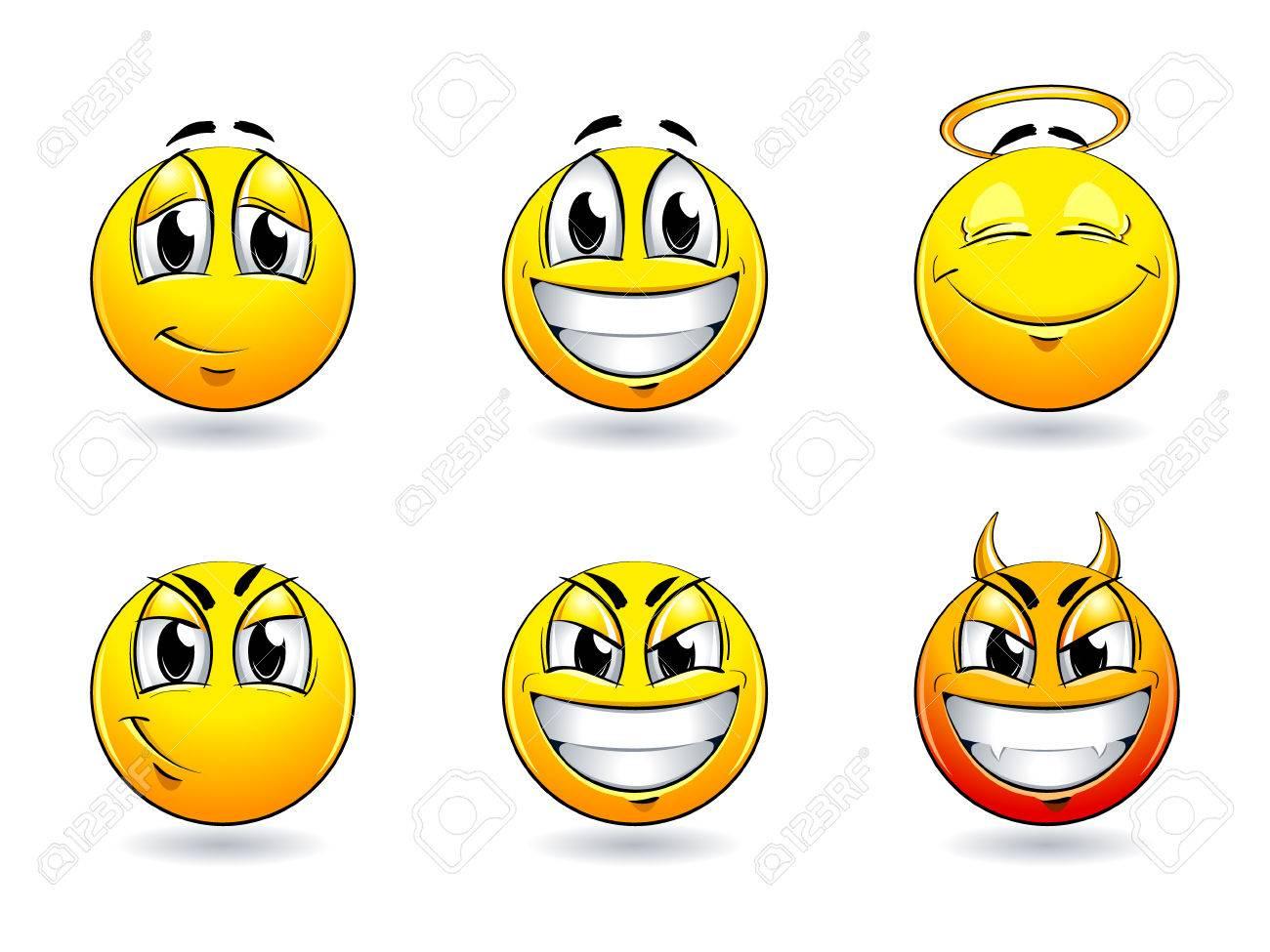 Set of pretty smiles-balls. Vector illustration. Stock Vector - 6198499