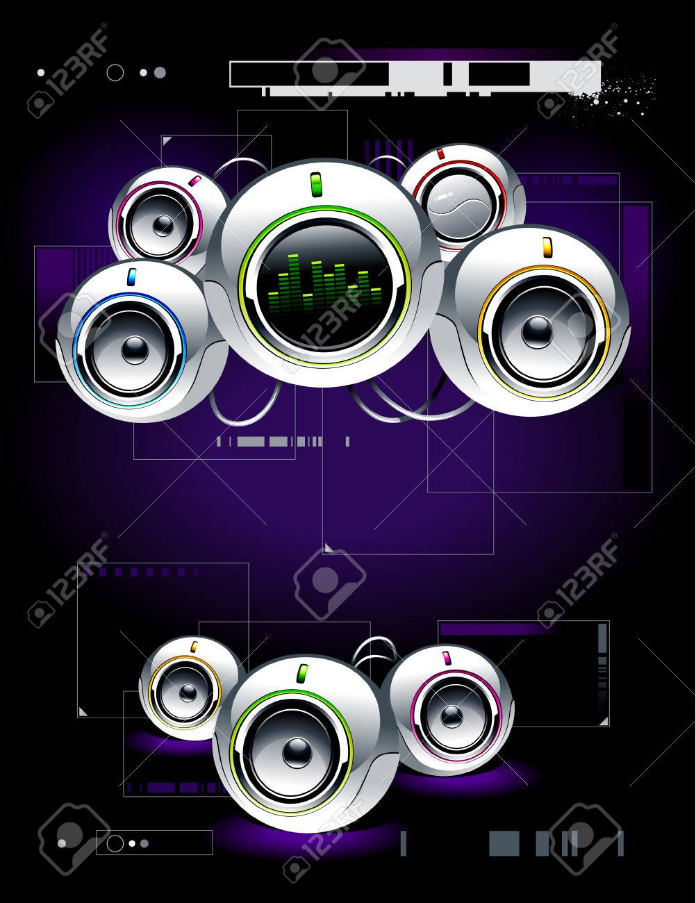 High tech sound system on modern background Stock Vector - 6302099
