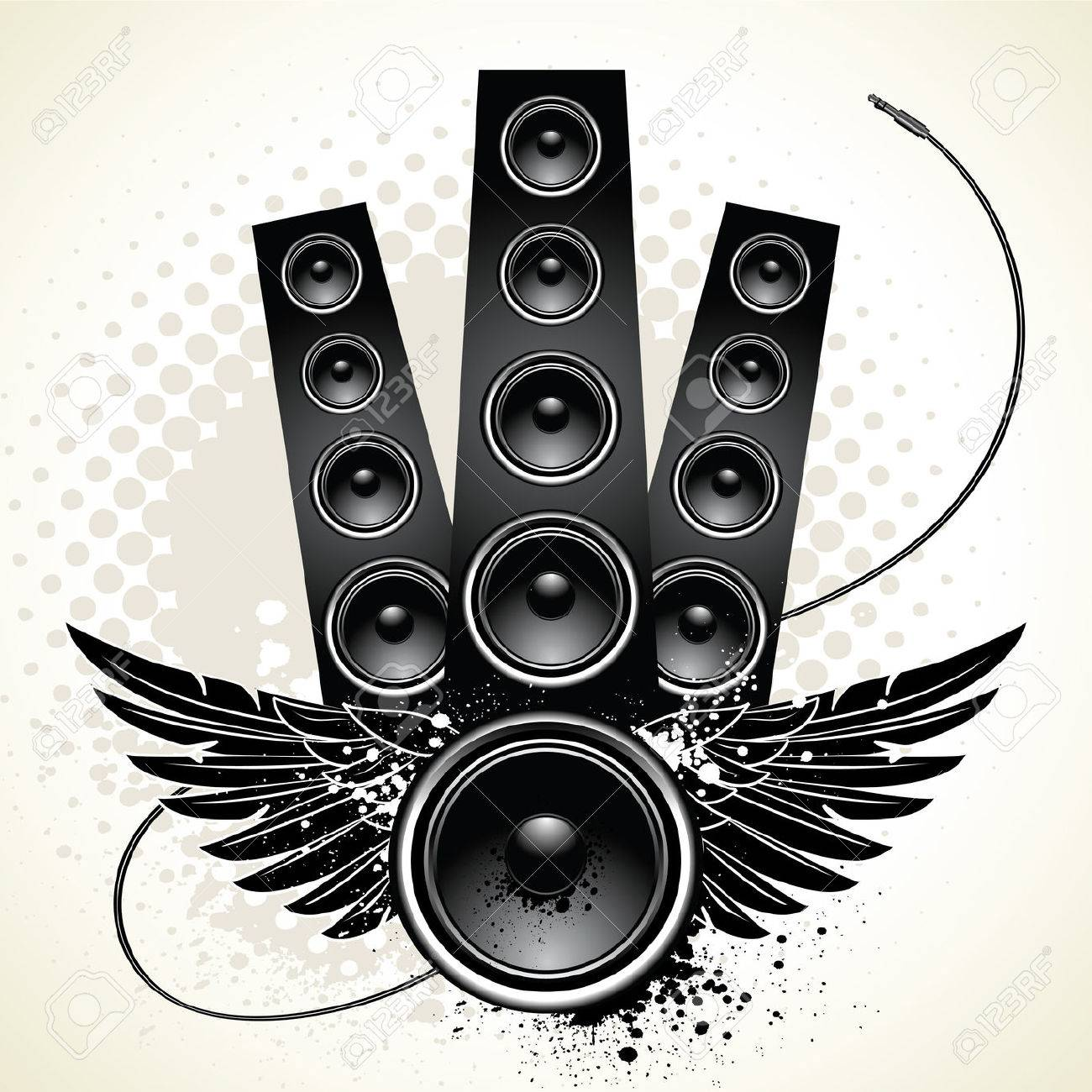 dj speakers clipart. techno drop the bass: speakers with wings and wire on grunge background dj clipart