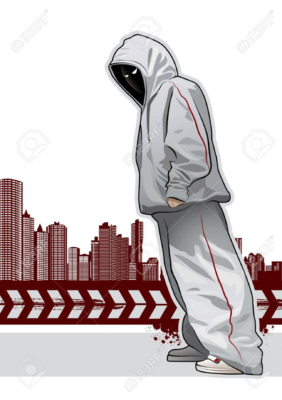 Cool image with young gangster on dark background Stock Vector - 6302138