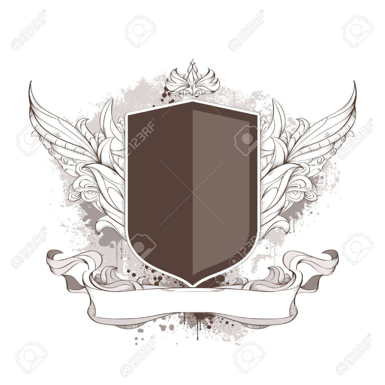 Badge and bizarre pattern on dirty background. Banner for your text. Stock Vector - 6907014