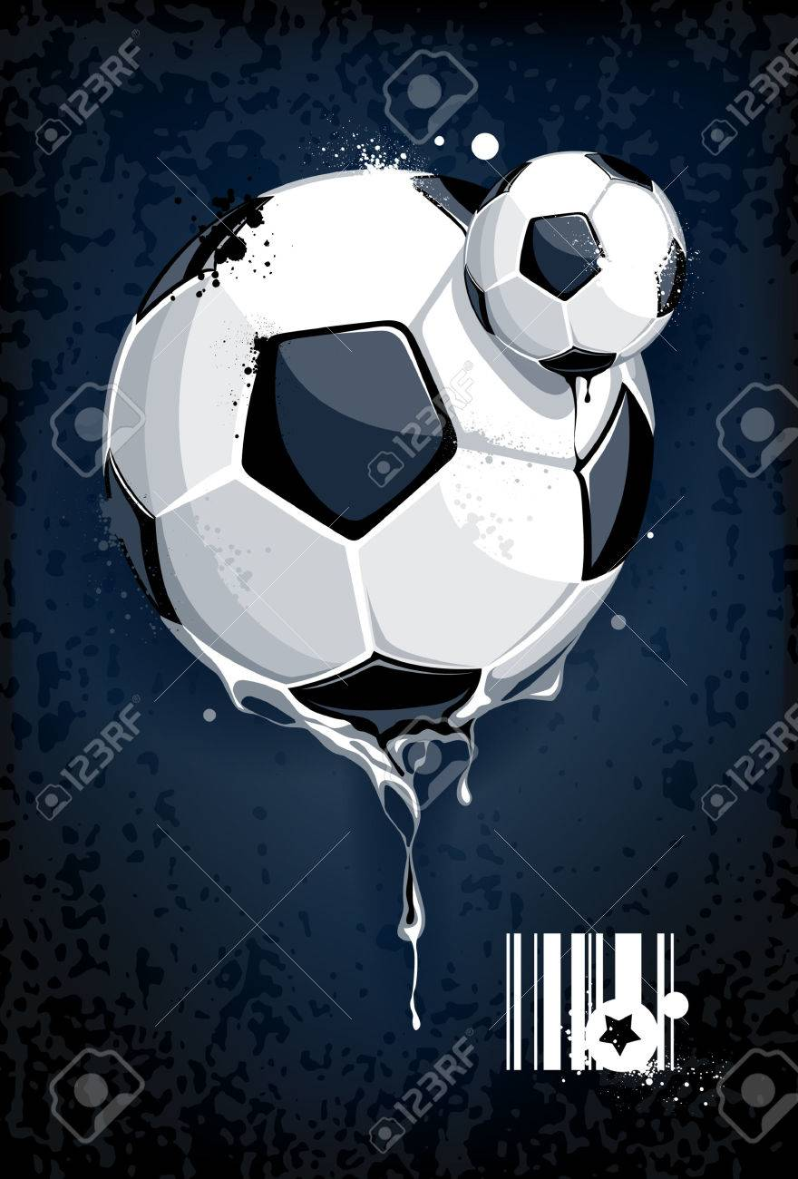 Soccer ball on dirty background. Abstract grunge style. Stock Vector - 7940201