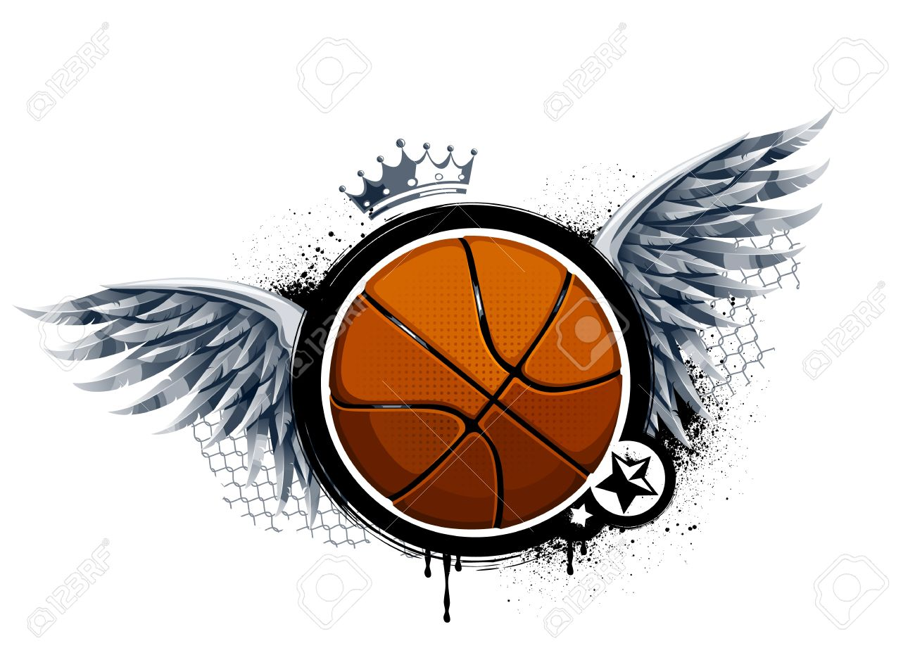 Grunge image with basketball  Vector illustration